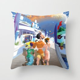 Boat Show Illustration Throw Pillow