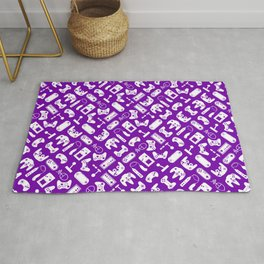 Control Your Game - White on Purple Rug