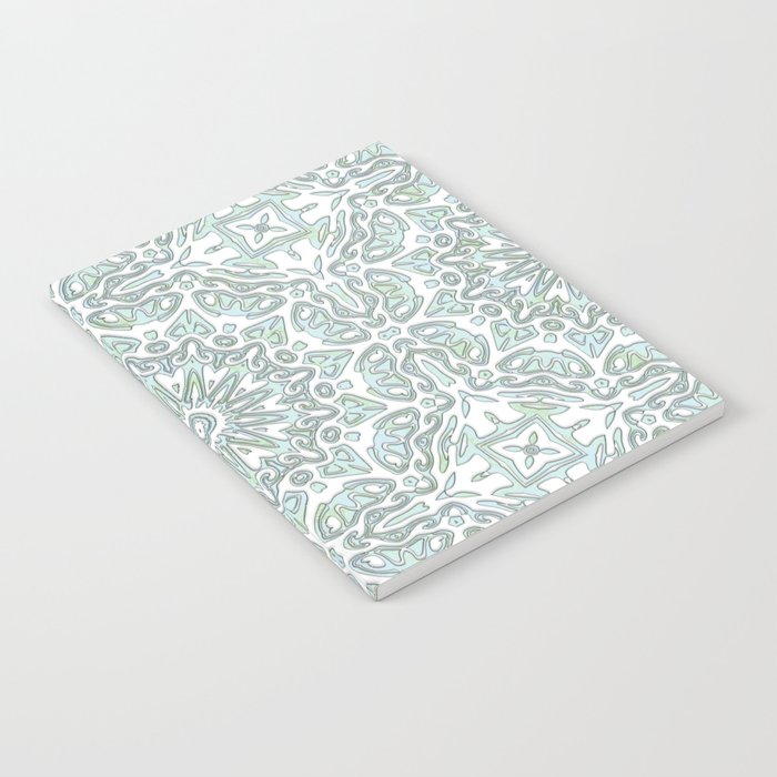 Turquoise Teal Faux Glitter Ornamental Pattern Notebook