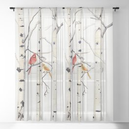 Birch Trees and Cardinal Sheer Curtain