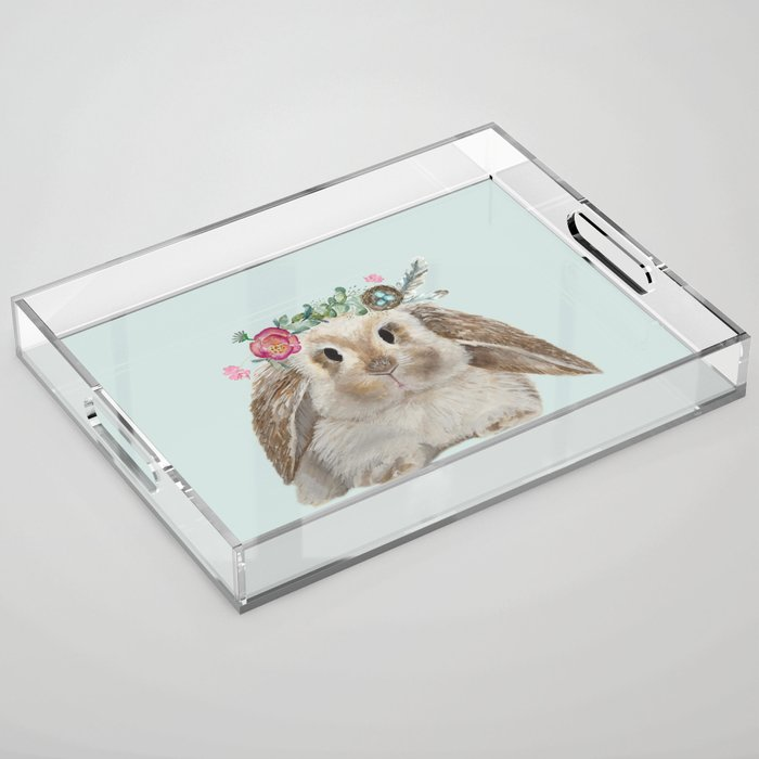 Spring Bunny with Floral Crown Acrylic Tray