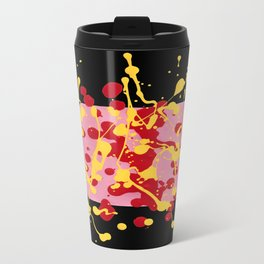 Paint Dance Pink Square Yellow Red on Black Metal Travel Mug