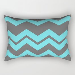 Chevron Pattern - Blue/ Smoke Gray Rectangular Pillow