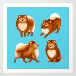 Pomeranian Pattern (Blue Background) Art Print