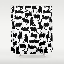 Black Cat Poses Shower Curtain