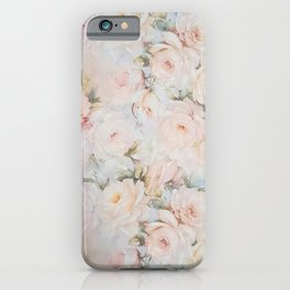 Vintage romantic blush pink ivory elegant rose floral iPhone Case