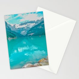 Digital Painting of a Sunny Summer's Day over Lake Louise in Banff National Park, Alberta Stationery Cards