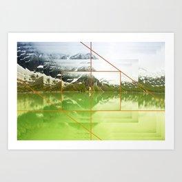 Mountain lake in Austrian Alps photo collage Art Print