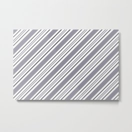 Pantone Lilac Gray and White Thick and Thin Angled Lines - Stripes Metal Print