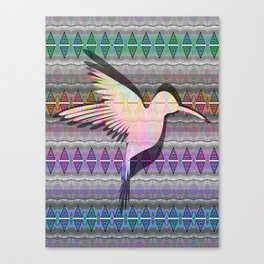 Iridescent neo-tribal hummingbird totem print Canvas Print