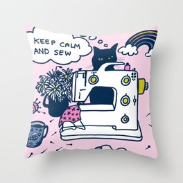 sewing machine and cat in lockdown Throw Pillow
