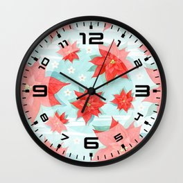 Red poinsettia #1 Wall Clock