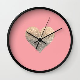 GOLD HEART CORAL Wall Clock