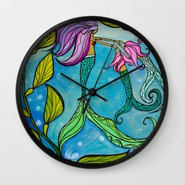 Mermaid Mama Ocean Art by Lauren Tannehill Art Wall Clock