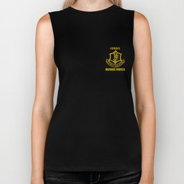 IDF  Israeli Army. Israel Defense Force Small Logo Biker Tank