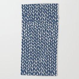 Hand Knit Navy Beach Towel