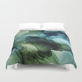 Land and Water Abstract Ink Painting Blues and Greens Duvet Cover