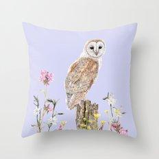 Meadow Barn Owl Throw Pillow
