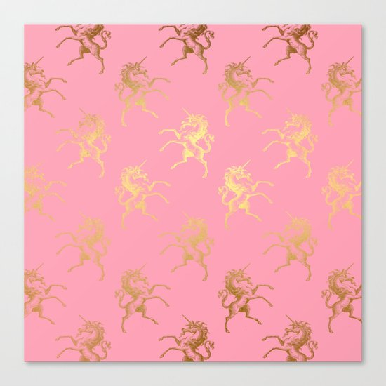 Gold elegant Unicorns on pink pattern Canvas Print