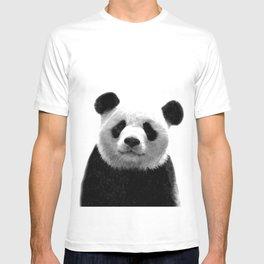 Black and white panda portrait T-shirt