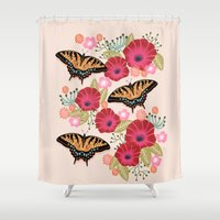 Swallowtail Florals by Andrea Lauren  Shower Curtain