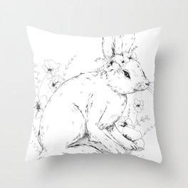 Little snowshoe hare Throw Pillow