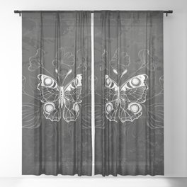 White Butterfly Peacock Sheer Curtain