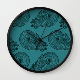 Nautilus in Turquoise Wall Clock
