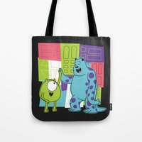 monster inc Tote Bags featuring Monster Time by Moysche Designs