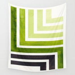 Sap Green Mid Century Modern Watercolor Colorful Ancient Aztec Art Pattern Minimalist Geometric Patt Wall Tapestry