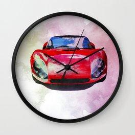 Watercolor painting of a supercar Wall Clock