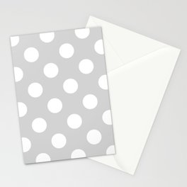 Large Polka Dots - White on Light Gray Stationery Cards