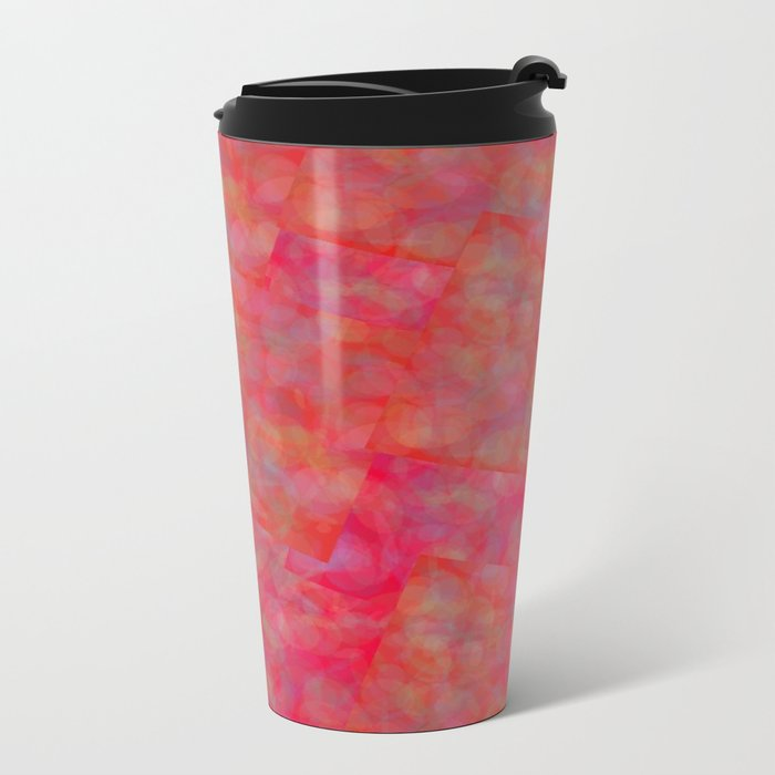Bright Pink Cubism Abstract Metal Travel Mug