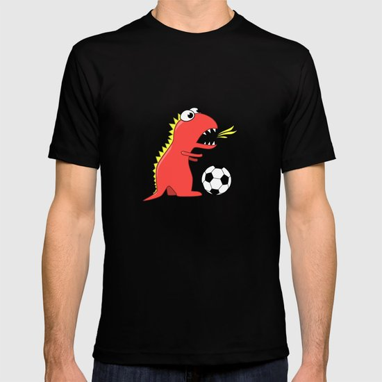 Black Cartoon Dinosaur Soccer T-shirt