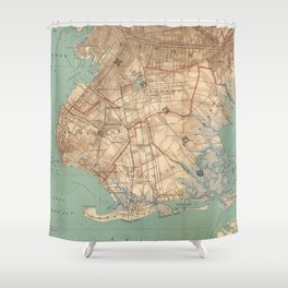 Vintage Map of Jamaica Bay and Brooklyn NY (1891) Shower Curtain