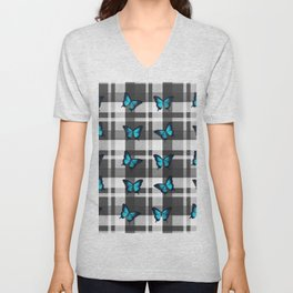 Blue Butterflies and Gray Plaid Unisex V-Neck