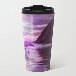 Full Moon over Calm Waters in purple Light Travel Mug