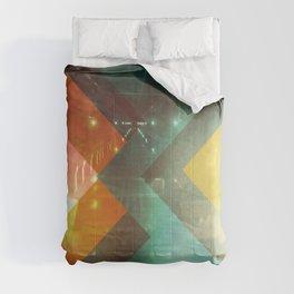 Seventies Orange Abstract Techno Triangles Comforters