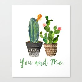 Watercolor cactus | You and Me Canvas Print
