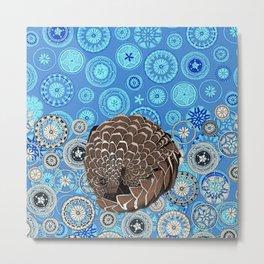 pangolin mandala blue Metal Print