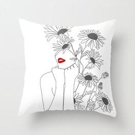 Minimal Line Art Girl with Sunflowers Throw Pillow