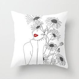 Minimal Line Art Girl with Sunflowers Throw Pillow