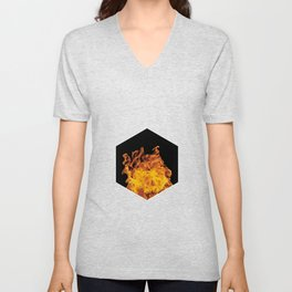 Fire hexagon abstract - Fire sign - The Five Elements Unisex V-Neck