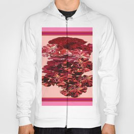 Cranberry-Pink Color Floral Brown Pattern Hoody