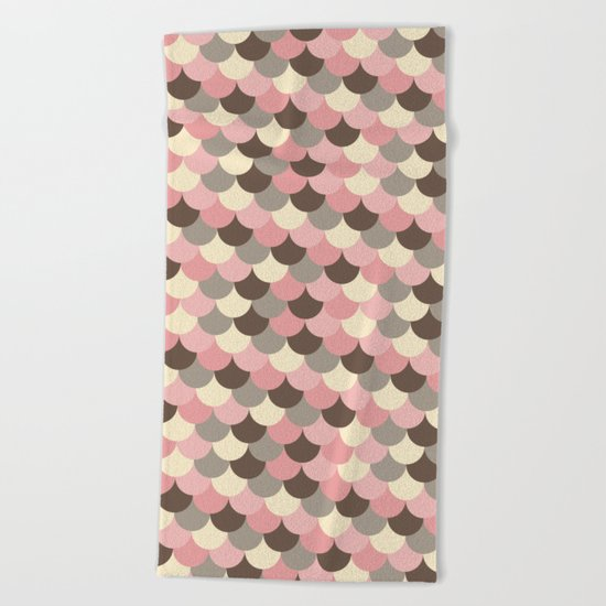 Strawberry Mouse Fish Scale Pattern Beach Towel