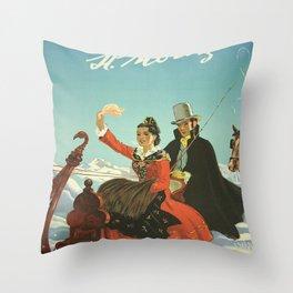 Vintage poster - St. Moritz, Switzerland Throw Pillow