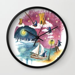 Penguin Sails Across Ocean and Into Sky of Fire Wall Clock