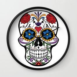Red Roses and Heart Cranium Tattoo Art Wall Clock