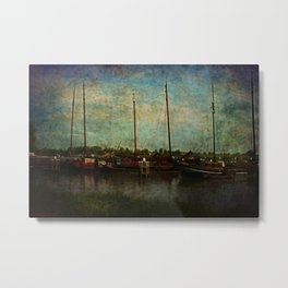 Historical Harbor Woudrichem The Netherlands Metal Print