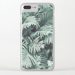 Fern Patten Turquoise Texture Clear iPhone Case